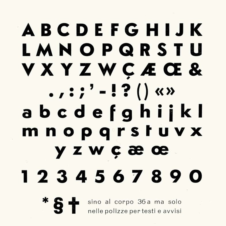 The original type specimen page 36pt Semplicità used for the