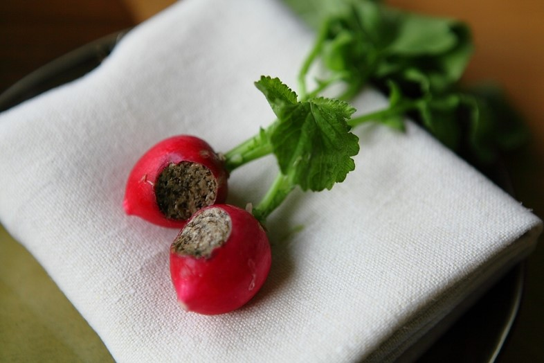 Radishes with seaweed butter at Story