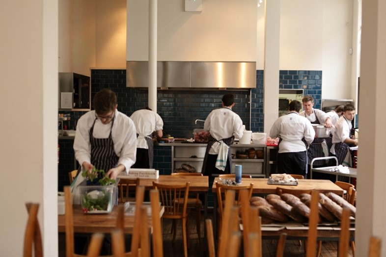 Open kitchen at The Clove Club