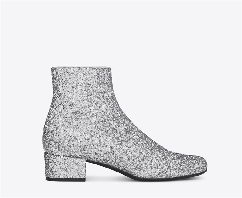 Ankle boot in silver glitter by Saint Laurent A/W14