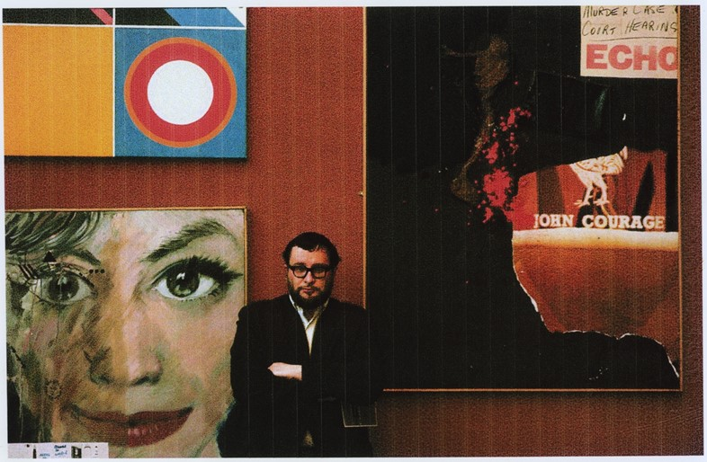 Henri in front of Liverpool 8 Murder Painting, c.1964