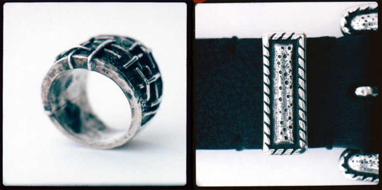 Silver Lines Ring by Tobias Wistisen; leather belt by Lanvin