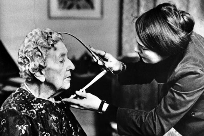 Agatha Christie being measured for her Madame Tussaud's waxw
