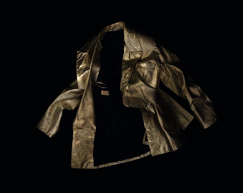 Gold leather jacket purchased at Mr Fish in Mayfair