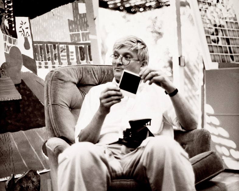 David Hockney at his studio in Los Angeles, April 1982