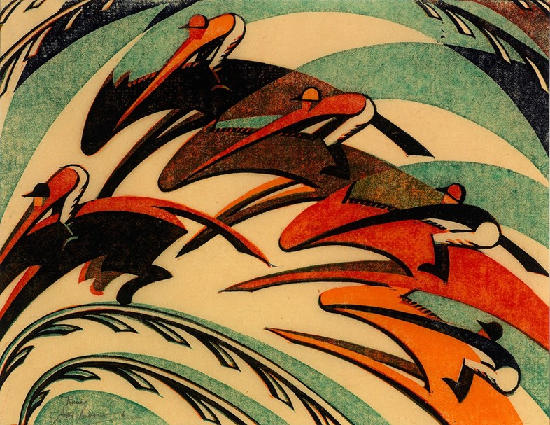 Racing,-1934-by-Sybil-Andrews.--linocut---26-x-34.