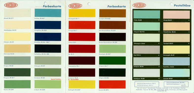 Sample card for enamel paint from Ducolux 1963