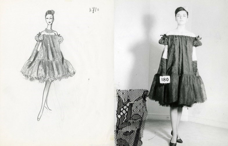 Sketch for a baby doll dress and the final garment, 1959