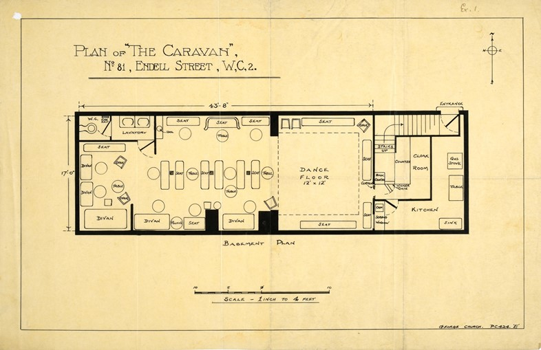 Police sketch plan of The Caravan Club, Endell Str