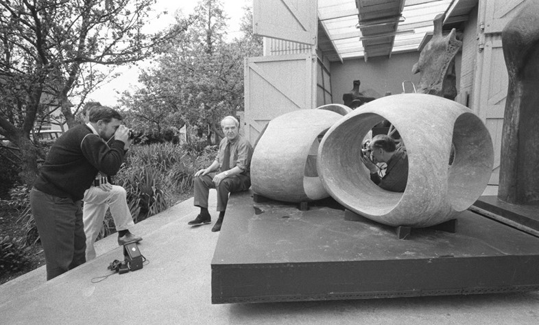 Henry Moore taking a rest during the filming of a