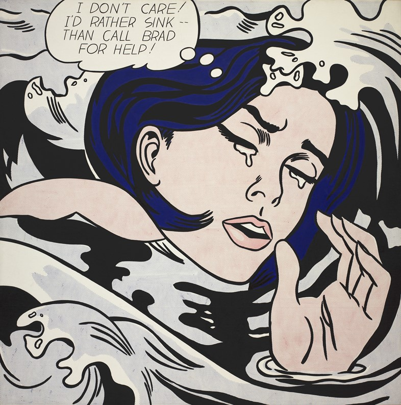 Roy_Lichtenstein_Drowning_Girl_1963_Oil_and_synthe