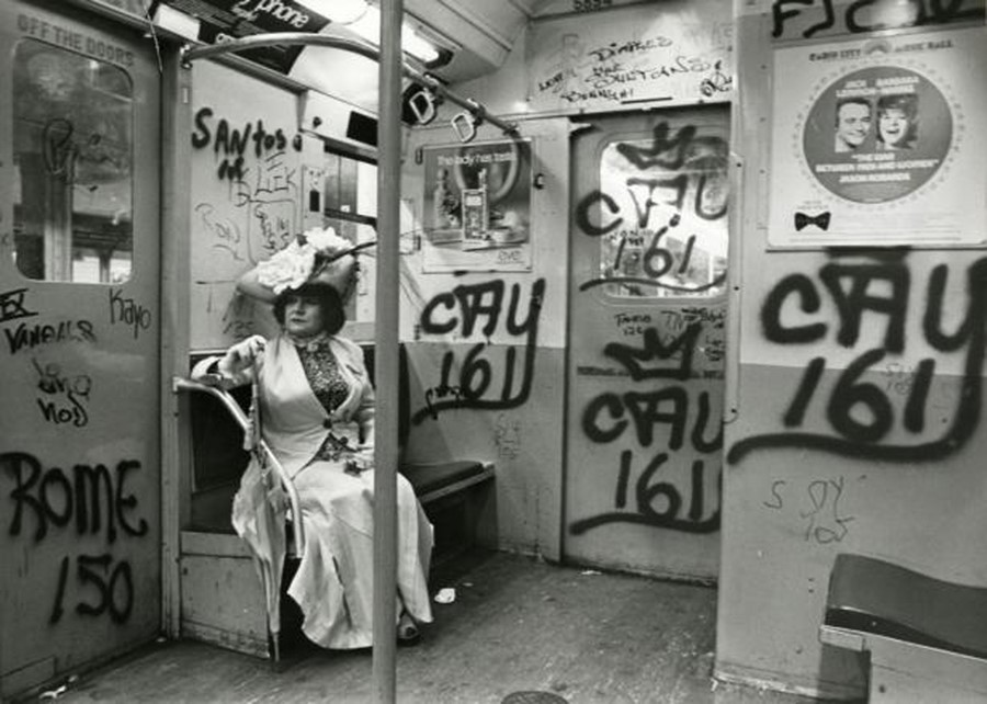 Editta Sherman on the subway, 1968-1976