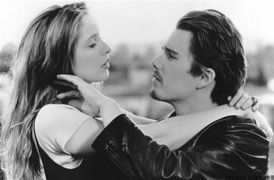 Julie Delpy and Ethan Hawke in Before Sunrise, 1995