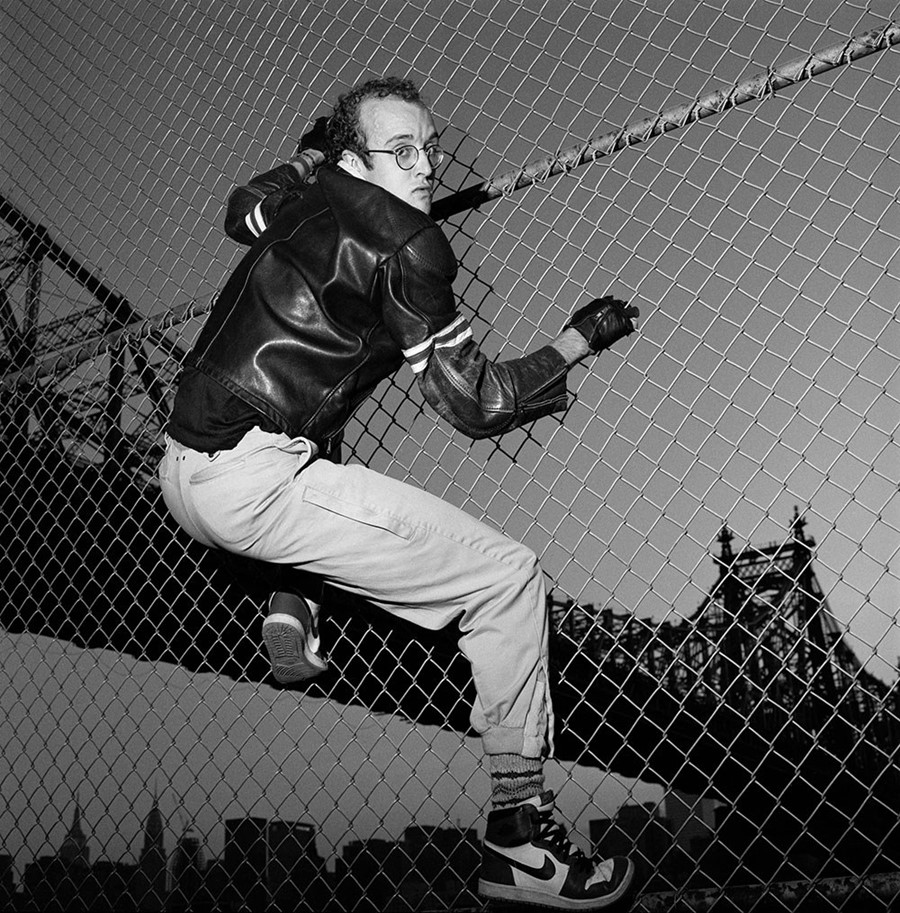 Keith Haring on a net at MoMa PS1 in New York